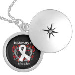 Daddy -  In Memory Lung Cancer Heart Round Locket Necklace