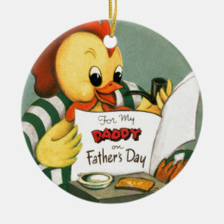 Daddy Rooster Reading the Newspaper Round Ceramic Decoration