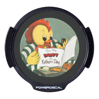 Daddy Rooster Reading the Newspaper LED Window Decal