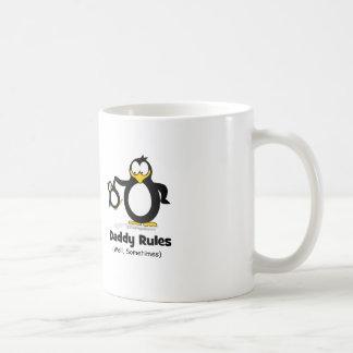 Daddy Rules Penguin Basic White Mug