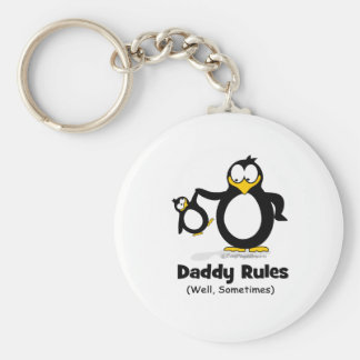 Daddy Rules Penguin Keychains