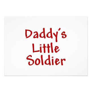 Daddy s Little Soldier red Custom Invites