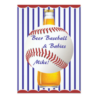 Daddy Shower Beer Baseball and Babies 13 Cm X 18 Cm Invitation Card