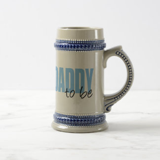 Daddy To Be (Blue Block Font) Beer Stein