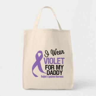 Daddy Violet Ribbon Hodgkins Lymphoma Grocery Tote Bag
