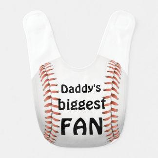 Daddy's biggest little FAN Huge Baseball Baby Bib