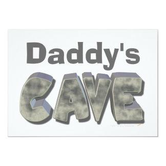 "Daddy's Cave Custom Name Stone Look 5"" X 7"" Invitation Card"