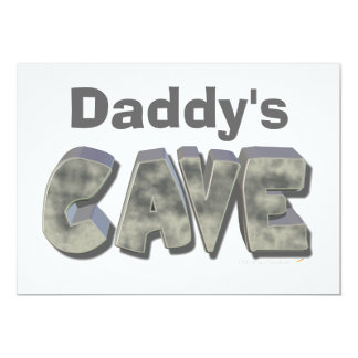 Daddy's Cave Custom Name Stone Look 13 Cm X 18 Cm Invitation Card