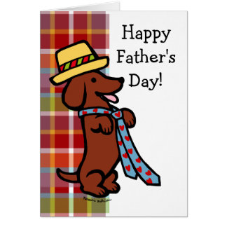 Daddy's Dachshund Cartoon Plaid Card