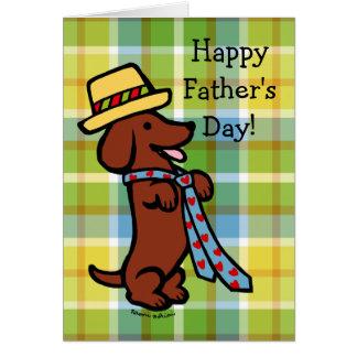 Daddy's Dachshund Cartoon Plaid Greeting Card