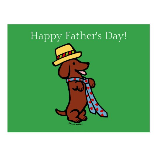 Daddy's Dachshund Cartoon Postcard