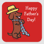 Daddy's Dachshund Cartoon Square Stickers