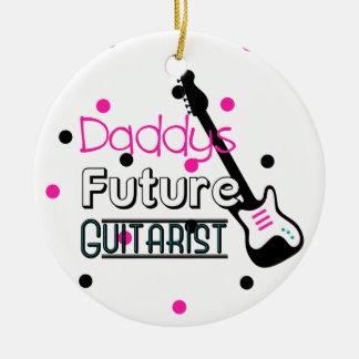 Daddys Future Guitarist Round Ceramic Decoration