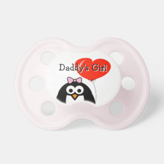 Daddy's girl penguin cartoon with balloon pacifier