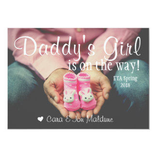 Daddy's Girl Pink Baby Girl Baby Announcement Card