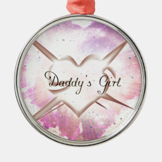 Daddy's Girl Splash Silver-Colored Round Decoration