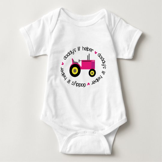 Daddy's Lil Helper Tractor Girl Baby Bodysuit
