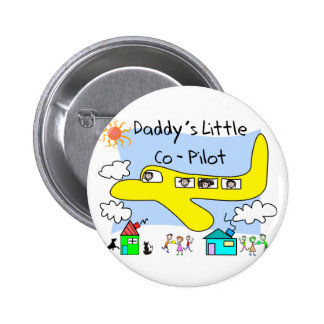 Daddy's Little Co-Pilot Kids T-Shirts 6 Cm Round Badge