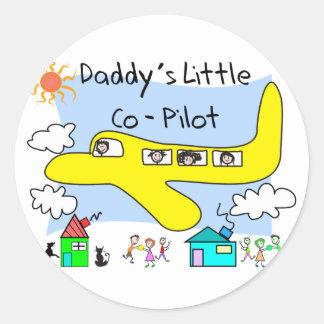 Daddy's Little Co-Pilot Kids T-Shirts Round Sticker