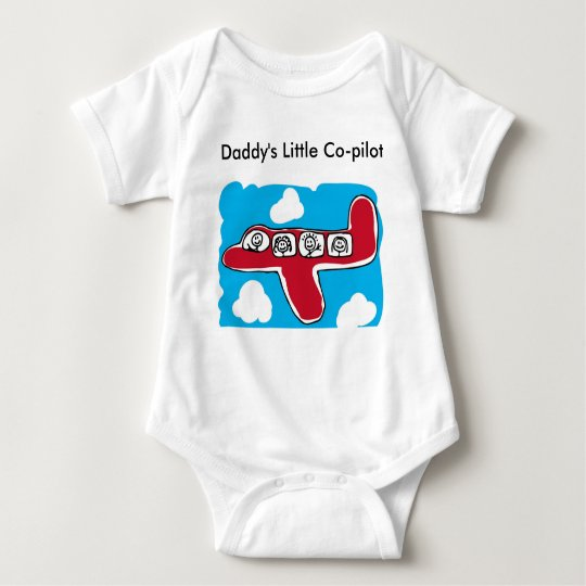 Daddy's Little Co-pilot-red plane Baby Bodysuit