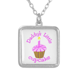 Daddy's Little Cupcake Square Pendant Necklace