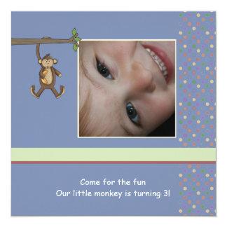 Daddy's Little Monkey Photo Birthday Party Invitat 13 Cm X 13 Cm Square Invitation Card