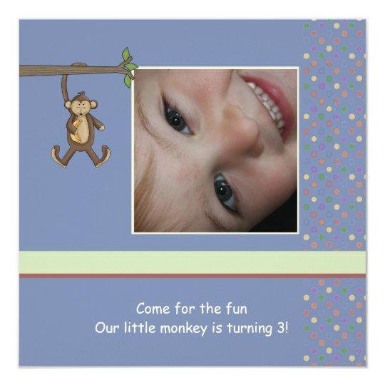 Daddy's Little Monkey Photo Birthday Party Invitat Card