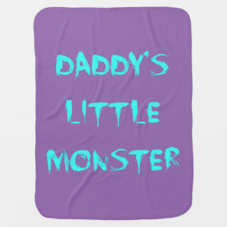Daddy's Little Monster Blanket Blue/Purple