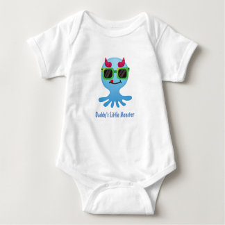 Daddy's Little Monster with Horns Baby Bodysuit