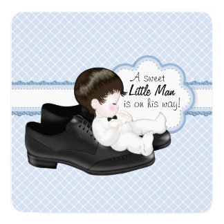 Daddys Shoes Little Man Baby Shower 13 Cm X 13 Cm Square Invitation Card