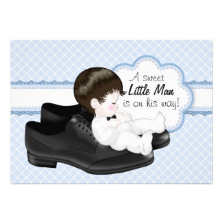 Daddys Shoes Little Man Baby Shower Custom Invitations