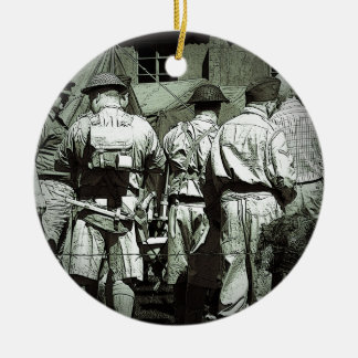 Dads Army on parade Round Ceramic Decoration