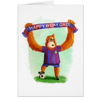 Dad's Birthday Football Orangutan Greeting Card