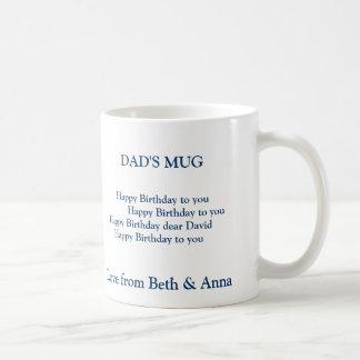 dad's birthday mug, DAD'S MUG,       Happy Birt... Basic White Mug