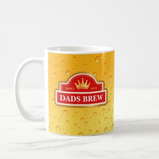 Dads Brew Beer Label Coffee Mug