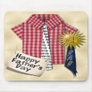 Dad's Favorite Shirt with #1 Ribbon w/Gold Backing Mouse Pads