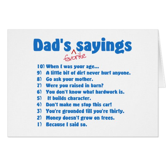 Dads favourite sayings cards