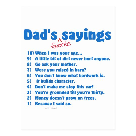 Dad's favourite sayings on gifts for him. postcard