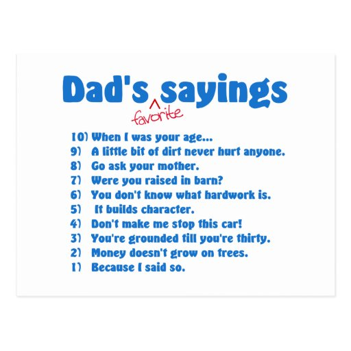 Dads favourite sayings postcard