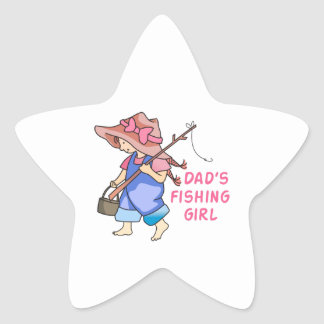 DADS FISHING GIRL STAR STICKER