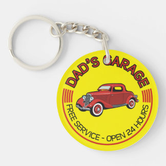 Dad's Garage for father who has car workshop Double-Sided Round Acrylic Key Ring