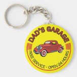 Dad's Garage for father who has car workshop Basic Round Button Key Ring