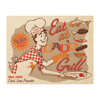 Dad's Grill Retro Wood Sign 14x11 (CUSTOMIZABLE)