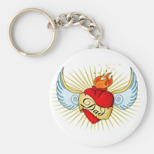 Dad's Heart Basic Round Button Key Ring