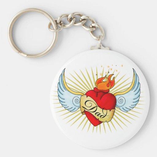 Dad's Heart Keychain