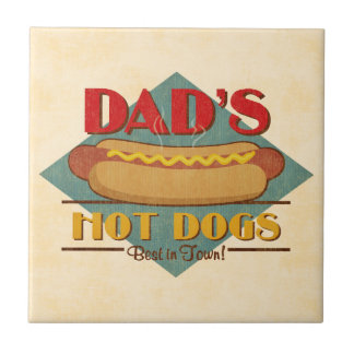 Dad's Hot Dogs Small Square Tile