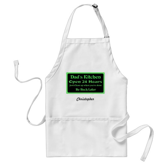 Dad's Kitchen Open 24 Hours, Personalise Standard Apron