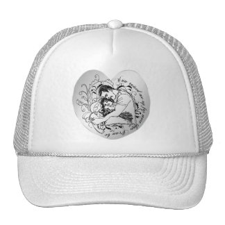 Dad's little girl line drawing text design cap