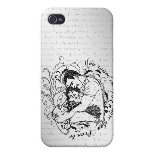 Dad's little girl line drawing text design covers for iPhone 4
