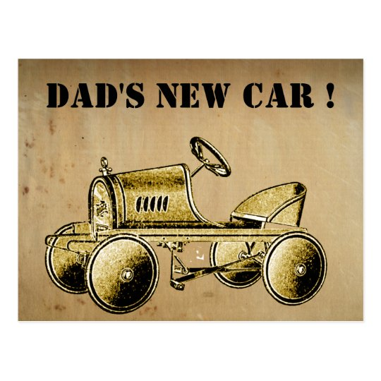 Dad's New Car! vintage style postcard